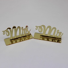 "Lovely/""Mr. & Mrs."" Acrylic Place Card Holders (Set of 2)"