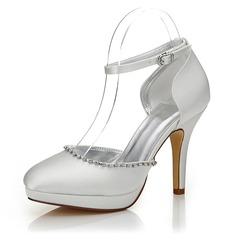 Vrouwen Satijn Stiletto Heel Closed Toe Pumps Verfbare Schoenen met Strass