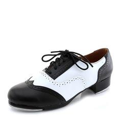 Femmes Vrai cuir Talons Claquettes avec Dentelle Chaussures de danse