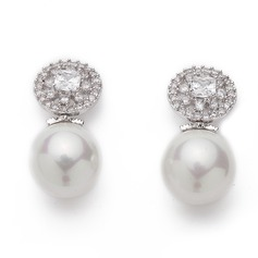 Beautiful Pearl/Zircon Ladies' Earrings (011060773)