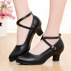 Women's Leatherette Heels Ballroom Swing With Buckle Dance Shoes