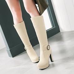 Mulheres PU Salto robusto Bombas Plataforma Botas Bota no joelho com Fivela Zíper sapatos