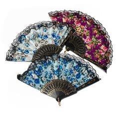 Floral Design Plastic/Fabric Hand fan (Set of 4)