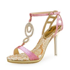 De mujer Brillo Chispeante Tacón stilettos Sandalias Encaje Solo correa con Crystal Brillo Chispeante Agujereado zapatos