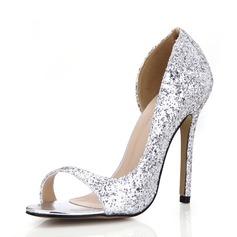 Mulheres Espumante Glitter Salto agulha Sandálias Peep toe sapatos (087072649)