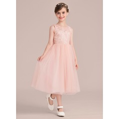 A-Line/Princess Tea-length Flower Girl Dress - Tulle/Charmeuse/Lace Sleeveless Scoop Neck With Beading/Bow(s)