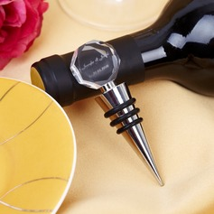 Personalized Geometric Design Chrome Bottle Stopper
