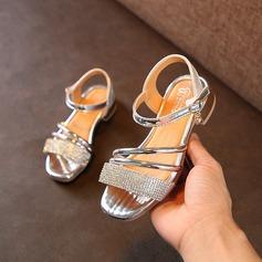 Mädchens Peep Toe Leder Flache Ferse Sandalen Flache Schuhe Blumenmädchen Schuhe mit Kristall