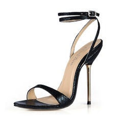 Women's Leatherette Stiletto Heel Sandals Slingbacks With Buckle shoes
