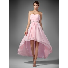 Çan/Prenses Kalp Kesimli Asimetrik Chiffon Mezuniyet Elbisesi Ile Büzgü Boncuklama