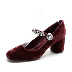 Women's Velvet Chunky Heel Pumps Closed Toe With Crystal shoes