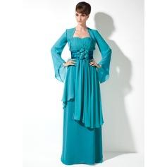 Empire-Linie Herzausschnitt Bodenlang Chiffon Kleid für die Brautmutter mit Blumen Gestufte Rüschen