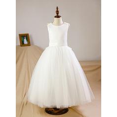 Ball Gown Floor-length Flower Girl Dress - Tulle Sleeveless Scoop Neck With Flower(s)