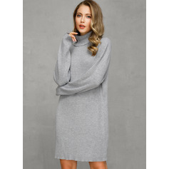 Turtleneck Casual Long Solid Chunky knit Sweaters (1002251588)