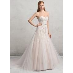 De baile Amada Cauda longa Tule Renda Vestido de noiva com Beading lantejoulas