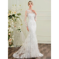 Trumpet/Mermaid Illusion Sweep Train Lace Wedding Dress (002097353)