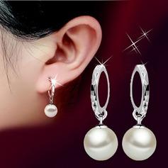 Elegant Copper With Imitation Pearls Ladies' Earrings