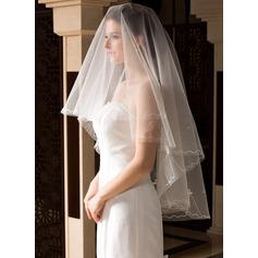 Uno capa Velos de novia vals con Corte de borde