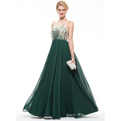 Vestidos princesa/ Formato A Decote redondo Longos De chiffon Vestido de baile com Bordado lantejoulas