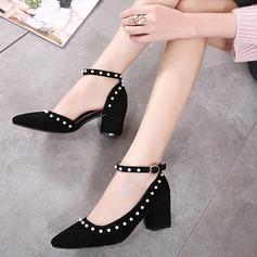 Frauen Wildleder Stämmiger Absatz Absatzschuhe mit Nachahmungen von Perlen Schnalle Schuhe