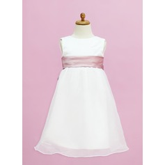 Empire Tea-length Flower Girl Dress - Organza/Satin Sleeveless Scoop Neck With Sash