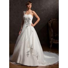 Balklänning One-Shoulder Chapel släp Satäng Organzapåse Bröllopsklänning med Rufsar Pärlbrodering Applikationer Spetsar