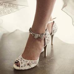 Women's Lace Stiletto Heel Peep Toe Sandals Beach Wedding Shoes With Rhinestone