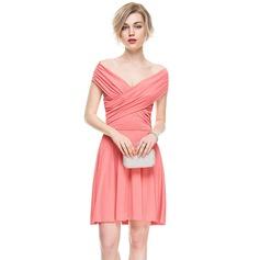 Трапеция/Принцесса Выкл-в-плечо Мини-платье Jersey Коктейльные Платье с Рябь