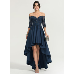 A-Linie/Princess-Linie Off-the-Schulter Asymmetrisch Satin Abiballkleid mit Pailletten