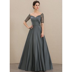 A-Line V-neck Floor-Length Satin Mother of the Bride Dress With Ruffle Beading Sequins