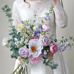Girly Free-Form Silk Flower Bridal Bouquets -