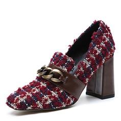 Vrouwen Stof Chunky Heel Pumps Closed Toe met Knoop schoenen