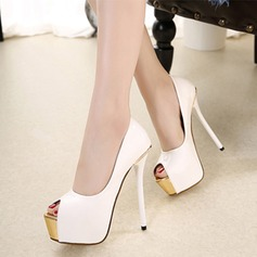 Women's Leatherette Stiletto Heel Pumps Platform Peep Toe shoes