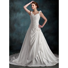 A-Line/Princess Sweetheart Chapel Train Taffeta Wedding Dress With Ruffle Flower(s)