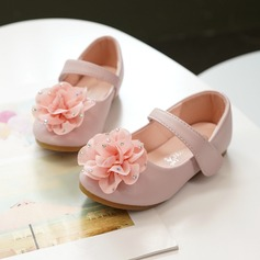 Pigens Mary Jane Microfiber Læder Flower Girl Shoes med Satinsløjfe Velcro