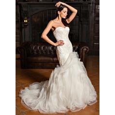 Trompete/Sereia Coração Sweep/Brush trem Organza de Vestido de noiva com Bordado