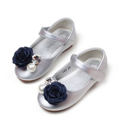 Fille de bout rond Cuir en microfibre talon plat Chaussures de fille de fleur avec Brodé Velcro Une fleur