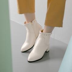 Kvinner Lær Stor Hæl Pumps Støvler Ankelstøvler med Rivet sko