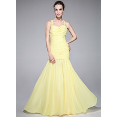 Trumpet/Mermaid Cowl Neck Sweep Train Chiffon Prom Dress With Ruffle Beading Sequins