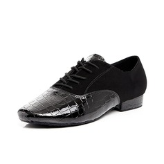 Men's Leatherette Latin Modern Ballroom With Lace-up Dance Shoes