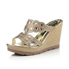 Leatherette Wedge Heel Sandals Wedges Peep Toe With Rhinestone shoes (116066470)