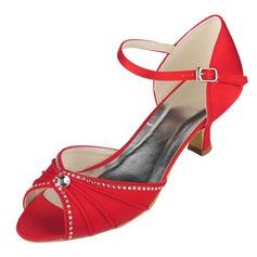Kvinnor Satäng Kitten Heel Peep Toe Pumps Sandaler med Strass