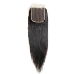 """4""""*4"""" 4A Tout droit les cheveux humains Fermeture (Vendu en une seule pièce)"""