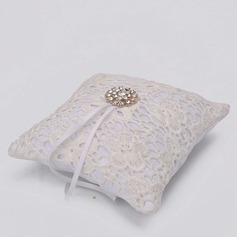 Lovely/Elegant Ring Pillow in Satin/Lace With Ribbons/Beading