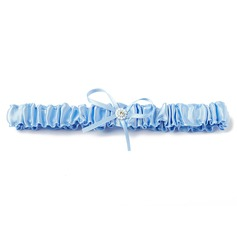 Classic Satin With Ribbons Pearl Wedding Garters (104019301)