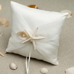 Classic Ring Pillow in Satin/Cotton With Starfish and Seashell