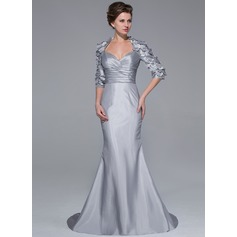 Trumpet/Mermaid Sweetheart Sweep Train Taffeta Mother of the Bride Dress With Beading Flower(s)