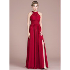 A-Line/Princess Scoop Neck Floor-Length Chiffon Bridesmaid Dress With Ruffle Bow(s) Split Front (007105574)