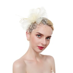 Dames Het oog Springende/Charme/Romantische Feather/Netto garen met Feather Fascinators