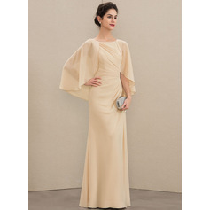 A-Line Scoop Neck Floor-Length Chiffon Mother of the Bride Dress With Ruffle Beading Sequins (008179219)